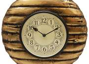 Metal Fitted Golden Shade Wooden Round Wall Clock