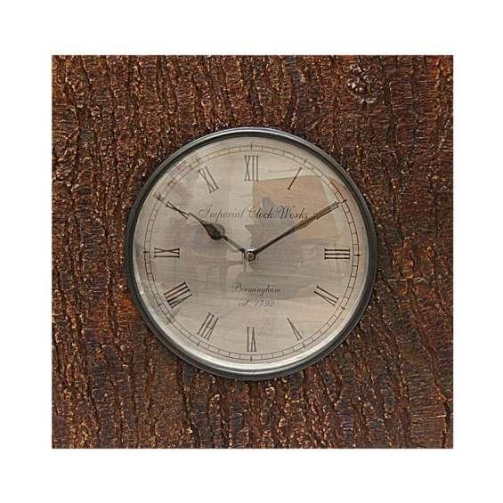 Natural look wooden square wall clock