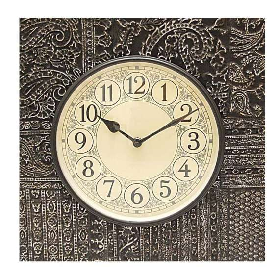Carved square wooden wall clock
