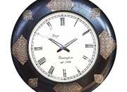 Half Metal Fitted Wooden  Round Wall Clock