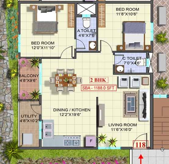 Pictures of Sale: unfrnshd 1188 sft. 2 bhk luxurious flat at k r puram 7