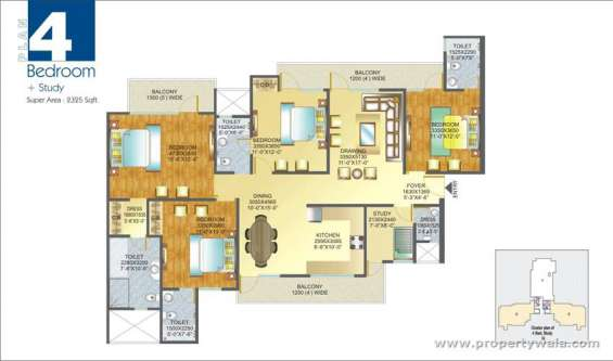 4 bedroom apartment / flat for sale in amrapali pan oasis, sector 70 noida