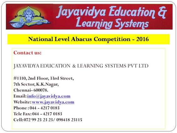 National level abacus competition – www.jayavidya.com