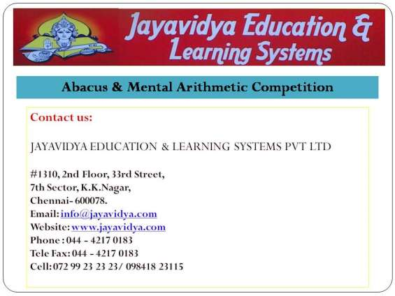 Abacus & mental arithmetic competition