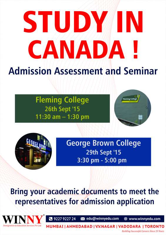 Study in canada – admission, assessment and seminar in mumbai