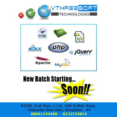 Best php training centers in bangalore, yelahanka| vthreesoft technologies.