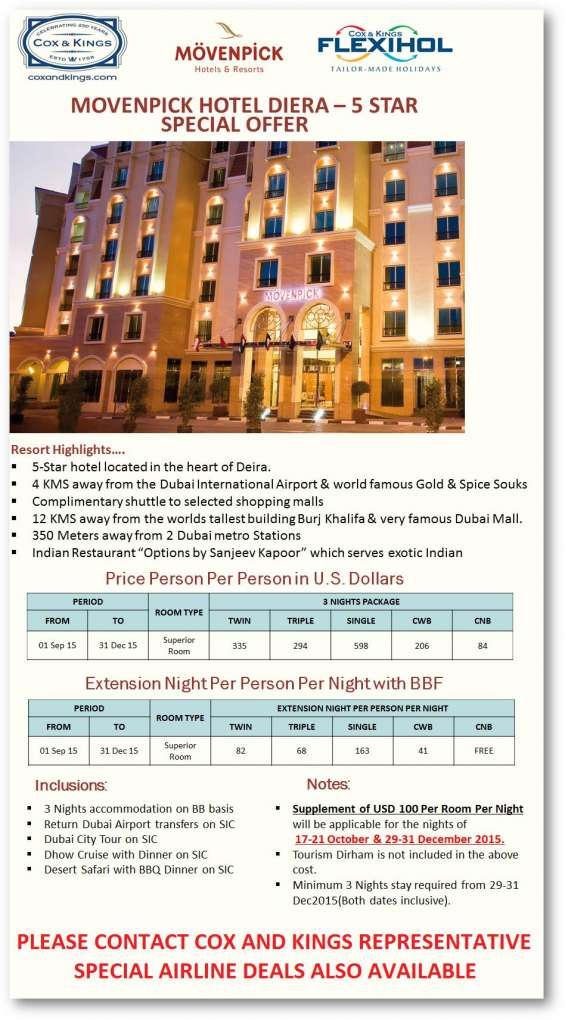 Movenpick diera 5 star special offer - cox and kings