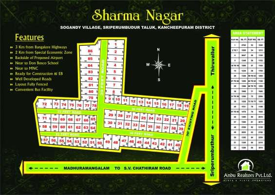 Land for sales sharma nagar plot rs. 425/- in sriperumbudur