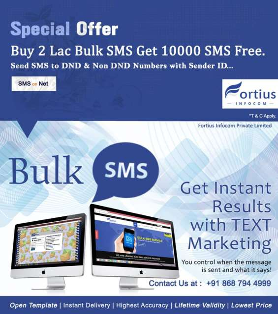 Fortius infocom pvt. ltd. bulk sms service is an ideal solution for those who wants to be in touch with targeted audience from small group to large group
