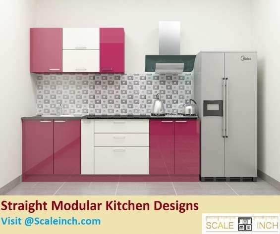 Straight kitchen design in bangalore - scaleinch
