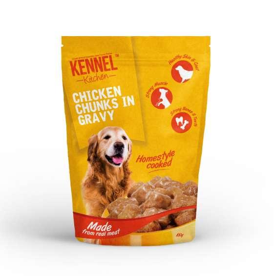 Kennel kitchen chicken chunks in gravy (100 gms) – pack of 30