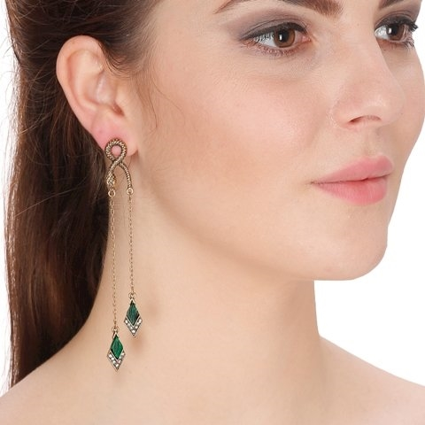 Beautiful hanging long chain drop earrings in green color at shoppyzip