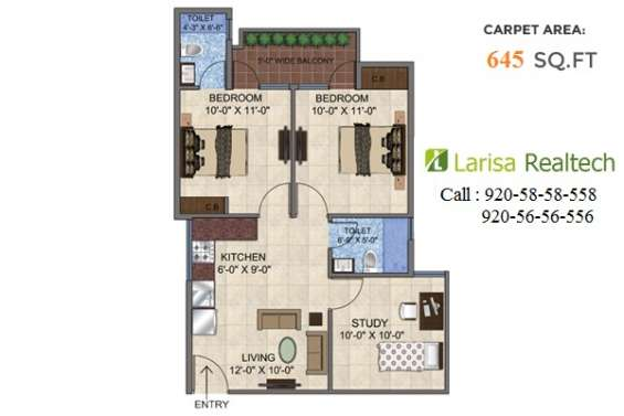 Get 2 bhk with study room in 23.87 lakhs with all inclusive gurgaon