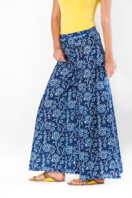 Blue palazzo with floral prints online at shoppyzip