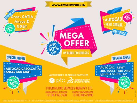 Mega offer!!! up to 50 % off on autocad, 3ds max, revit bundled courses in bengaluru.