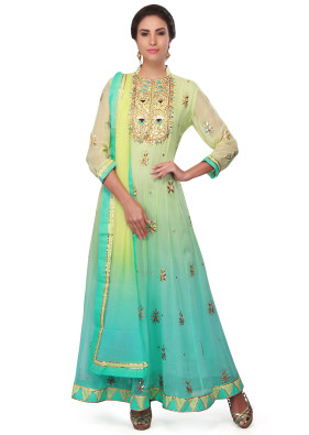 Pista green & blue georgette anarkali suit