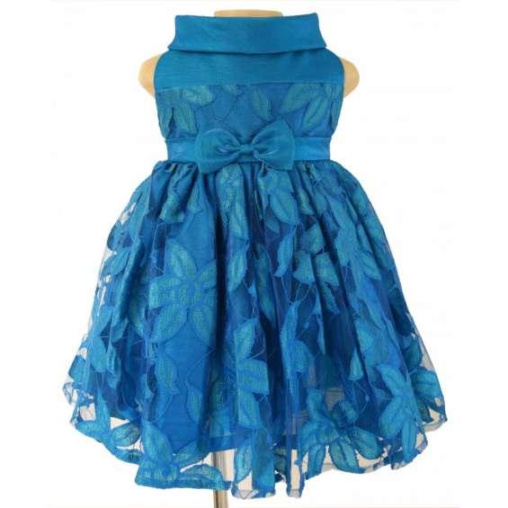 Buy online peacock blue ceremonial baby girl dresses
