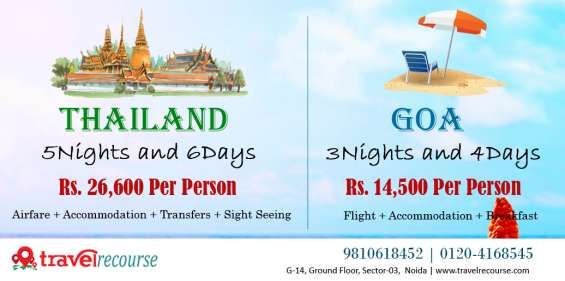 Goa, thailand and manali tour packages at travel recourse