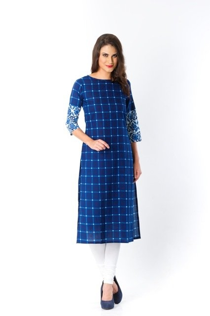 Fall in love with this indigo blue cotton kurta in 25% off at shoppyzip