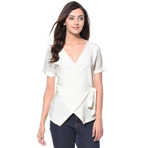 Trendy v-neck top with wrap-up detailed at 43% off at shoppyzip