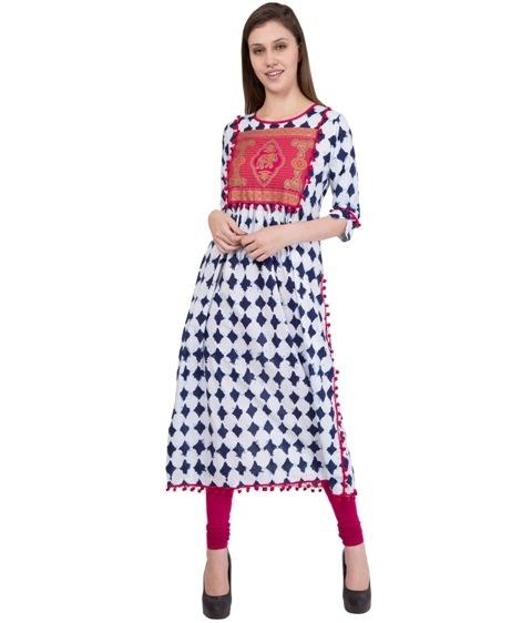 White kurti with indigo print at 50% off on shoppyzip