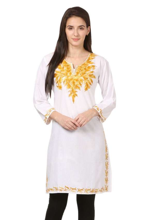Kashmiri embroidery on a white kurti at 42% off in shoppyzip
