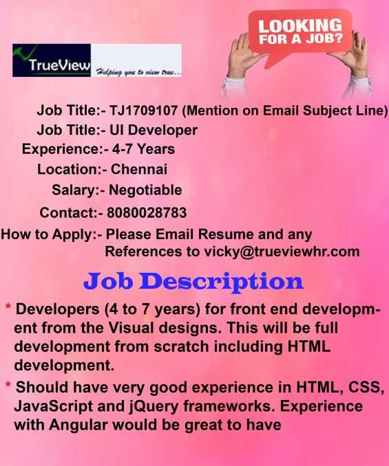 Urgent job opening for ui developer