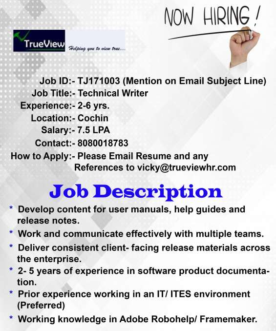 Job opening for technical writer