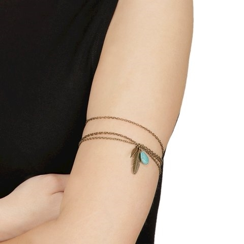 Golden color feather and turquoise bead arm chain online at shoppyzip