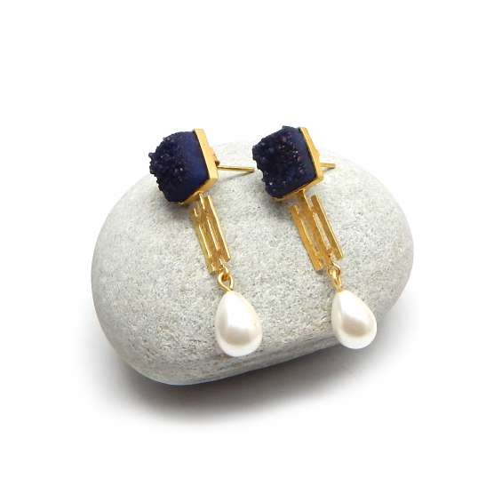 Blue druzy pearl stud earrings at the v collection