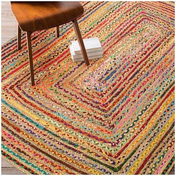 Rugsville multicolour jute chindi braided rug 4' x 6'