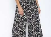 Black cotton palazzo in beautiful prints at 25% in Shoppyzip
