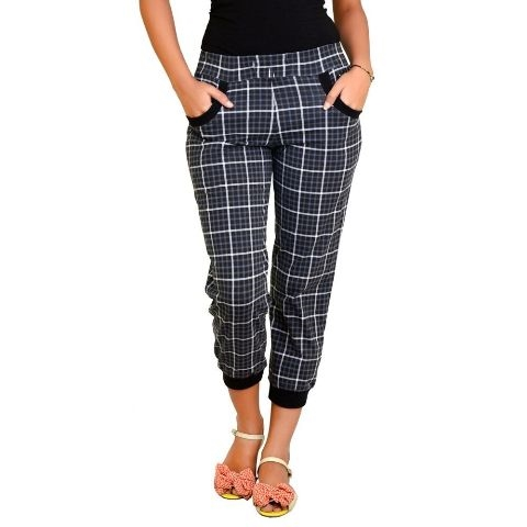 Pictures of Women color capri with check pattern with loose fitting at 50% off- shoppyzip 2