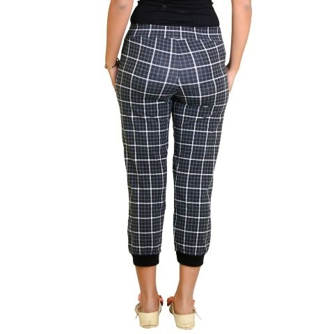Pictures of Women color capri with check pattern with loose fitting at 50% off- shoppyzip 3