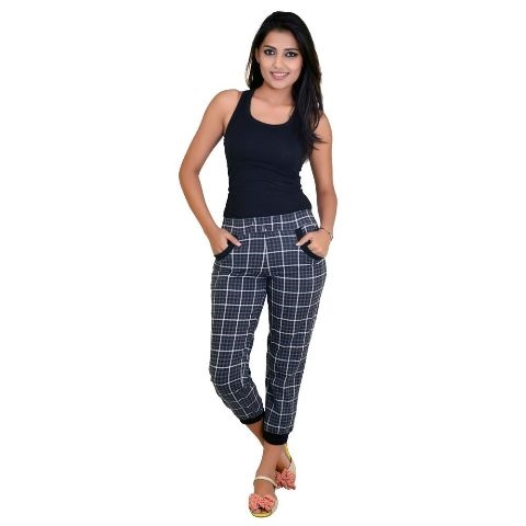 Women color capri with check pattern with loose fitting at 50% off- shoppyzip