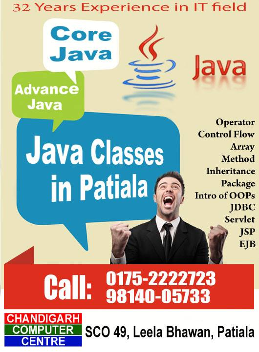 Java classes at chandigarh computer centre in patiala.