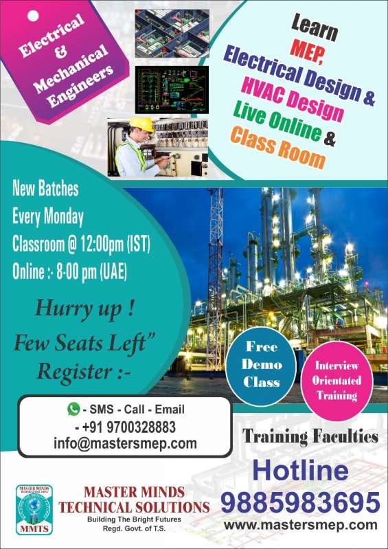Learn mep, electrical design & hvac desidn live online & class room for engineers.