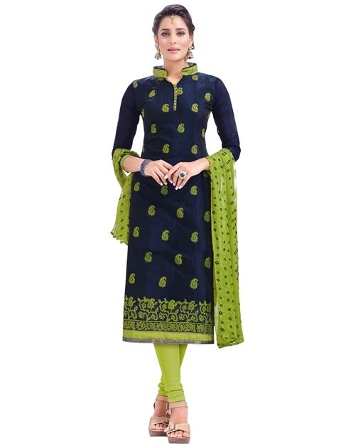Chanderi silk dress materiel in blue-green combination at shoppyzip