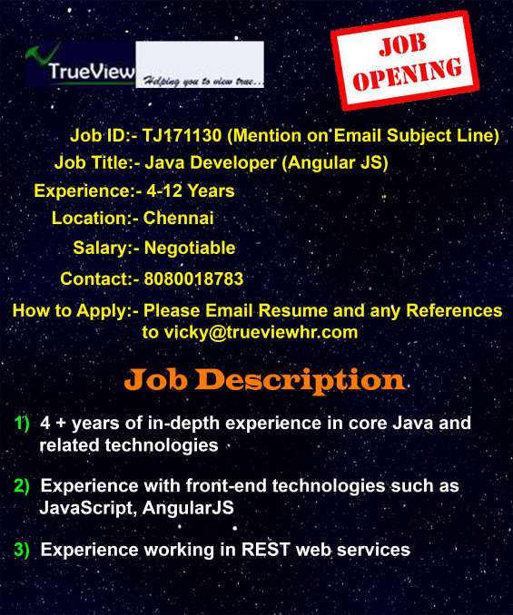 Urgent job opening for java developer(angular js)