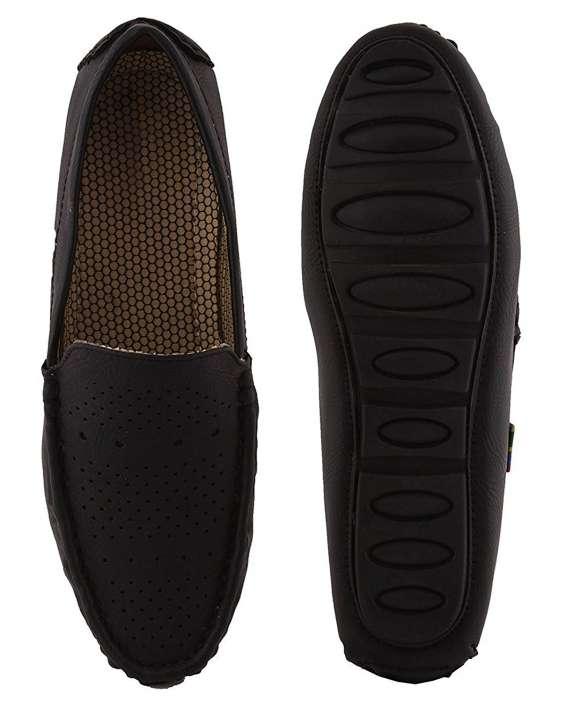 Buy men's black casual loafer shoes