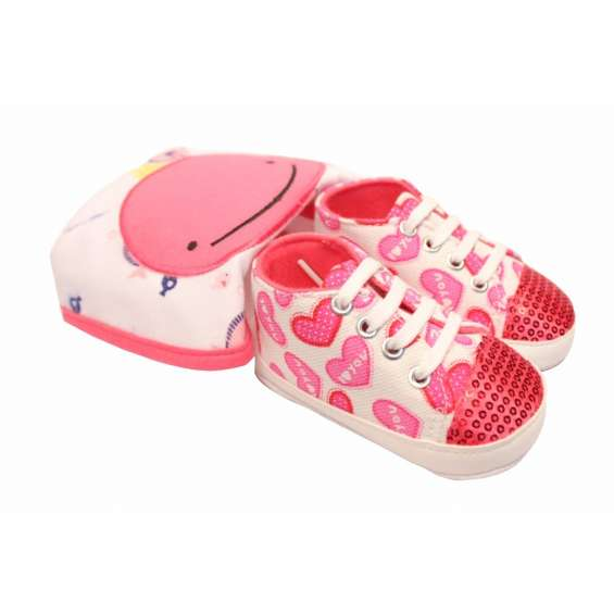 Babies bloom infant baby boy crib i lov you pink pattern shoes and pink cartoon character