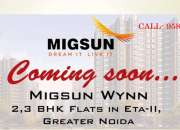 2 3bhk flats in migsun wynn gr noida double bedroom apts for sale in eta 2