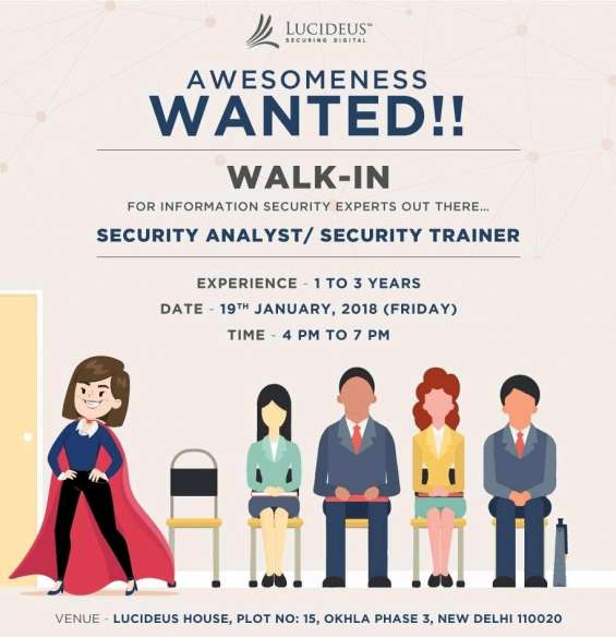 Walk in interview at 19th january 2018