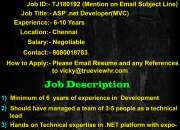 Urgent job opening for ASP .net developer(MVC)