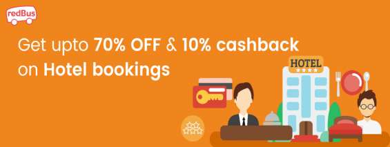 Get upto 70% off and 10% cashback on hotel bookings - redbus coupons 2018