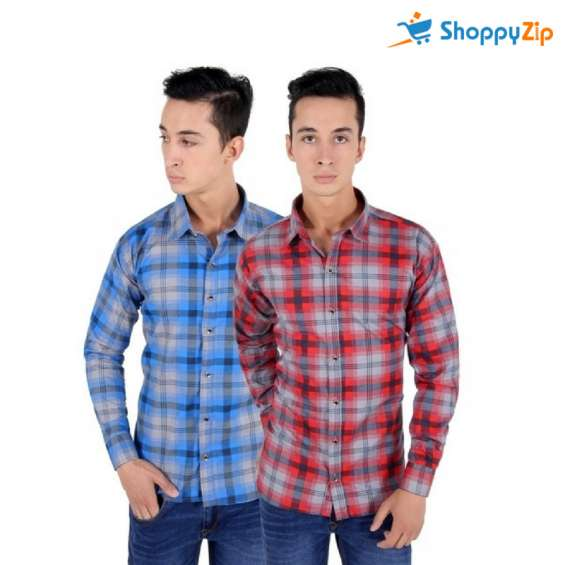 Red and blue casual shirt combo offer at low price