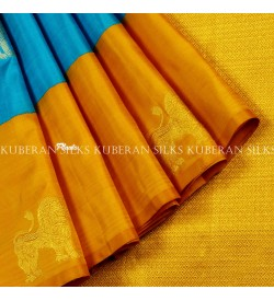 Blue kanchivaram silk saree online-kuberan silks