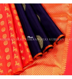 Royal blue kanchivaram silk saree-kuberan silks