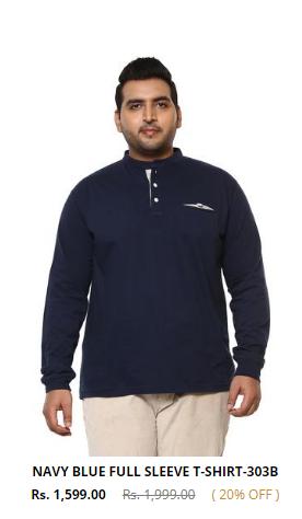 Buy full sleeve t-shirts or plus size male clothing