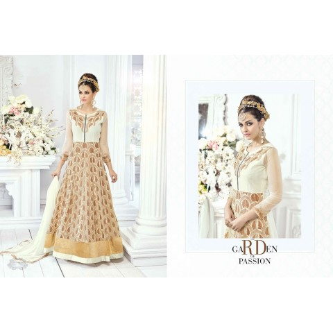 Beige and white color wedding wear embroidery work anarkali